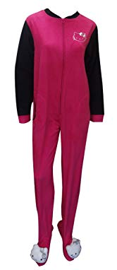 Hello Kitty Women's Plush Heads Pink Fleece One Piece Footie Pajama