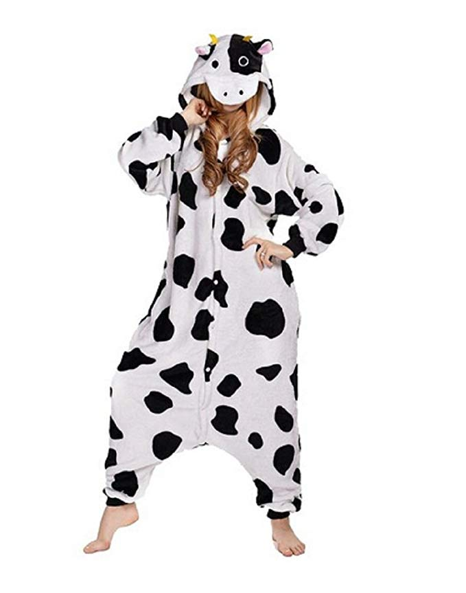 NEWCOSPLAY Kigurumi Pajamas Halloween Costumes One Piece Onesie Cow Pajamas (large)