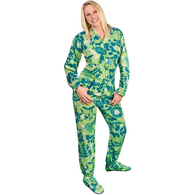 Footed Pajamas Drop Seat Fleece Nature Silhouettes