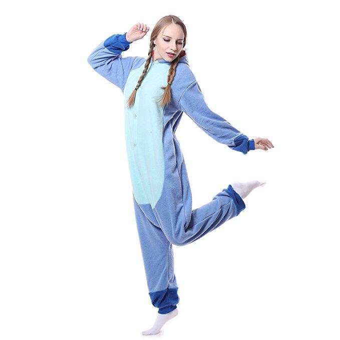Unisex-Adult Onesie Pajamas Kigurumi Stitch Animal Sleepwear for Halloween Party Costumes,Daily Cartoon Outfit