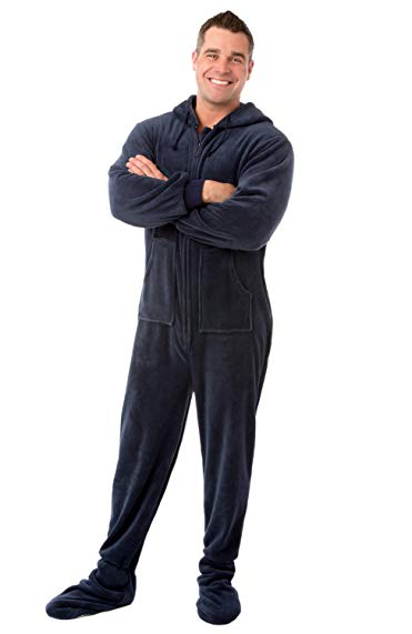 Navy Blue Plush Hoodie Footed Onesie Pajama Loungewear for Men & Women
