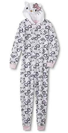 Hello Kitty Women's Printed Plush Onesie with Hood
