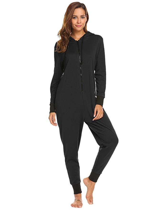 Ekouaer Womens Onesie Pajamas Adult Hooded Jumpsuit Non Footed One Piece Pajamas (Black, XL)