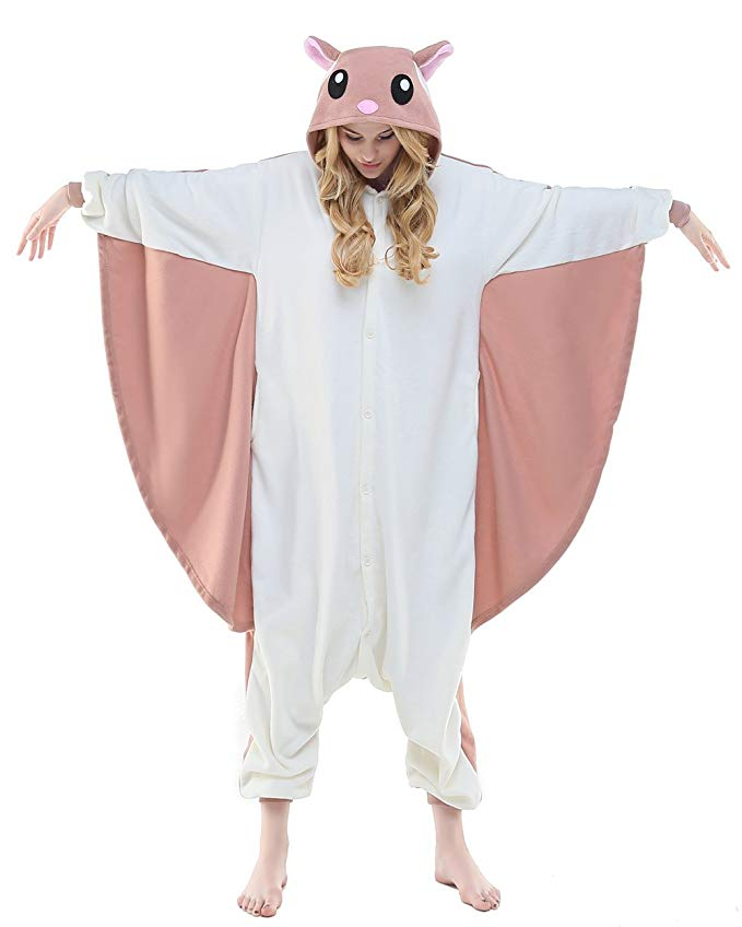 NEWCOSPLAY Adult Unisex Flying Squirrel Onesie Pajama Costume