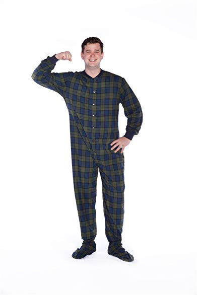 Navy Blue & Green Plaid Cotton Flannel Adult Footed Pajamas Onesie Sleeper