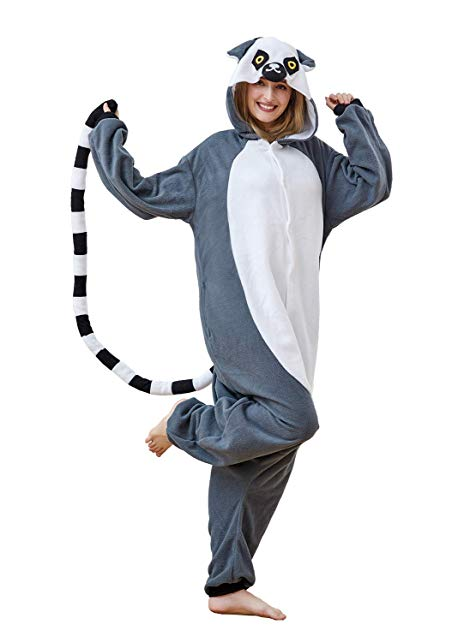 Xiqupjs Grey Lemur Pajamas Unisex Adult Animal Cosplay Costume Onesies One-Piece Gift for Valentine