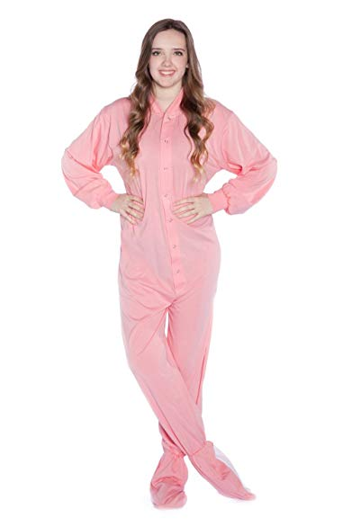 Big Feet PJs Pink Jersey Knit Adult Footie Footed Pajamas with Drop Seat Onesie