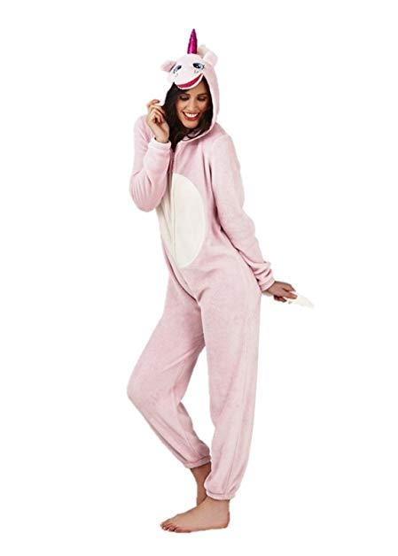 armona Ladies Womens Pink Unicorn Jumpsuit Comfy Nightwear Sleepwear Pyjamas