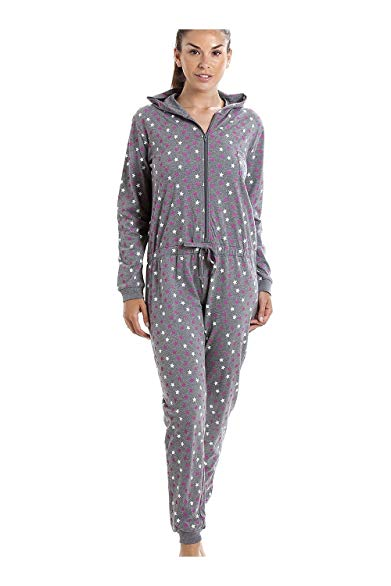 Camille Womens Ladies Grey Cotton Star Print Hooded All in One Onesie
