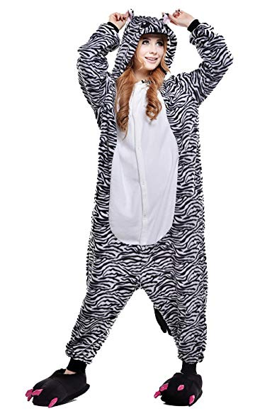 Newcosplay Zebra Onesie Pajamas Adult Onesies Cosplay Costumes