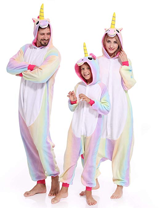 Unicorn Onesies Pajamas Animal Cosplay Kigurumi Unisex Halloween Costume Hoodie Outfit for Adult Kids