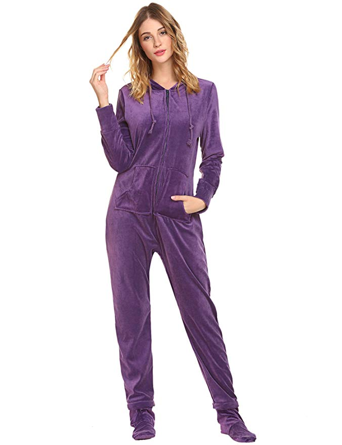 Hotouch Women's Union Suit Coral Fleece Onesie with Hooded Footed Jumpsuit Pajamas Red Color S-XL