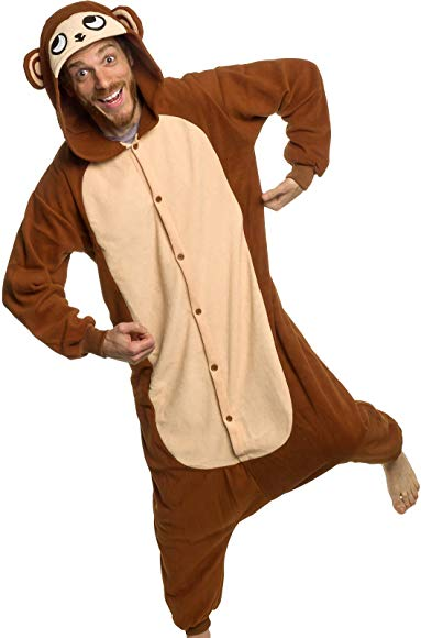 Silver Lilly Unisex Adult Pajamas - Plush One Piece Cosplay Monkey Animal Costume