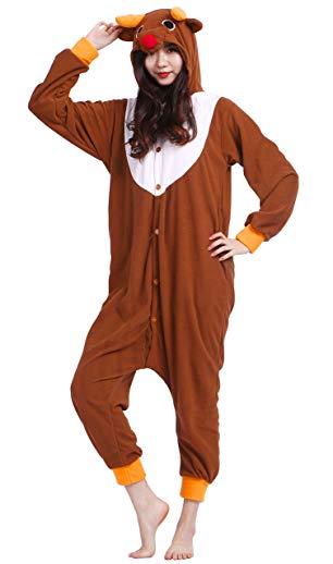 Taigood Unisex Adult Animal Pajamas Plush One Piece Cosplay Elk (140-187cm)