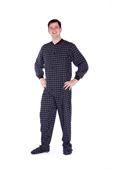 Black & White Plaid Cotton Flannel Adult Footed Onesie Pajamas