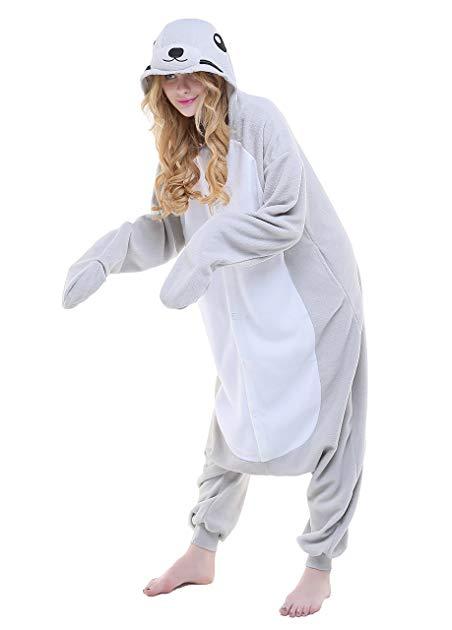 NEWCOSPLAY Adult Unisex Seal Onesie Pajama Costume