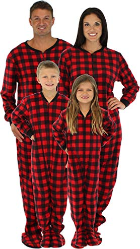 SleepytimePjs Family Matching Red Plaid Fleece Onesie PJs Footed Pajama