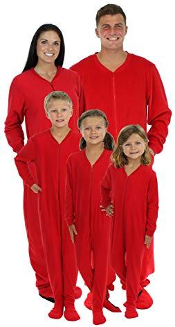 SleepytimePjs Family Matching Red Footed Onesie Fleece Pajama