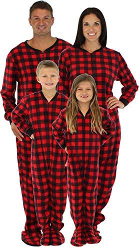 8002aeb0e1 SleepytimePjs Family Matching Red Plaid Fleece Onesie PJs Footed Pajama  Review